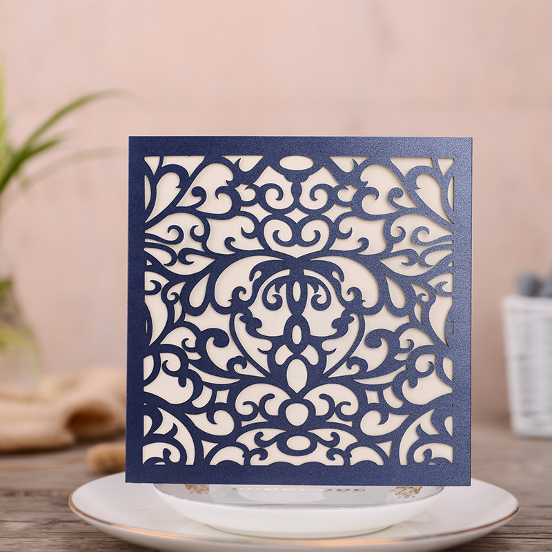 Classic Square Navy Blue Laser Cut Wedding Invitations with Yellow Tassel