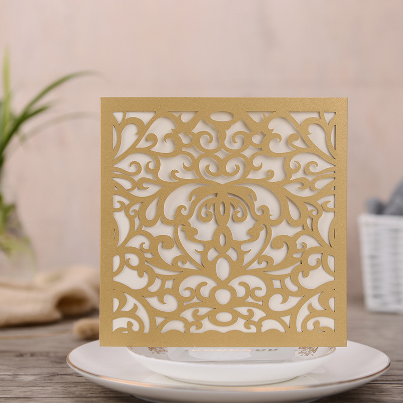 Classic Square Yellow Laser Cut Wedding Invitations with Matching Tassel
