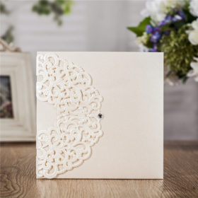 Classic luxury ivory laser cut wedding invitations LC030