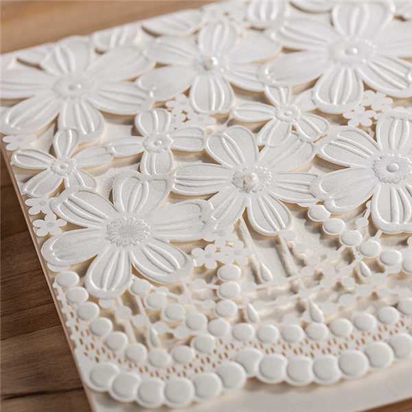 Classic white folded floral laser cut wedding invitations LC027