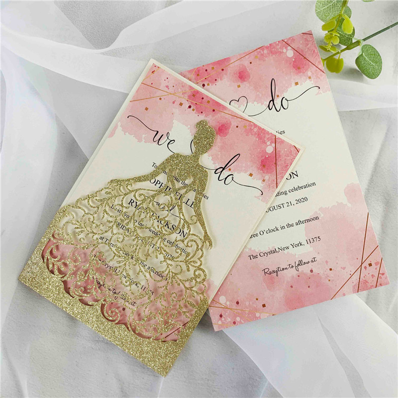 Customizable Gold Glittery Bridal Shower and Quinceanera Invitations Lcz068