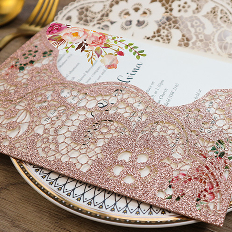 Delicate Rose Gold Glittery Pocket Laser Cut Wedding Invitations with Carved Pattern