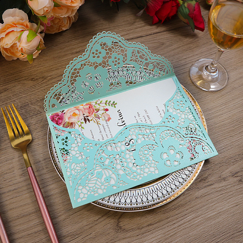 Delicate Tiffany Blue Pocket Laser Cut Wedding Invitations with Carved Pattern