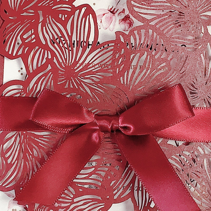 Elegant Chic Burgundy Laser Cut Wedding Invitations with Floral Designs and Ribbon