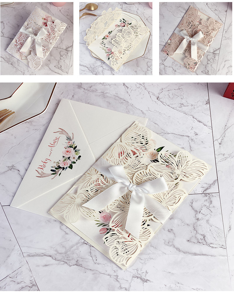 Elegant Chic Ivory Laser Cut Wedding Invitations with Floral Designs and Ribbon