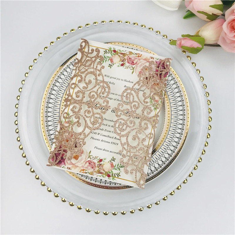 Elegant Rose Gold Glittery Laser Cut Wedding Invitations with Belly Band Lcz075