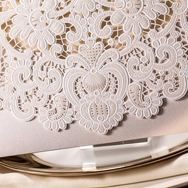 Elegant ivory lace detailed laser cut wedding invitations LC001