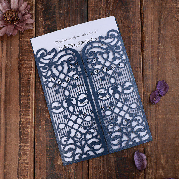 Elegant navy blue laser cut gate wedding invitations LC039