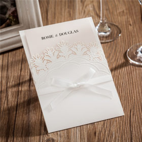 Elegant white pocket laser cut wedding invitations with lovely flowers LC029