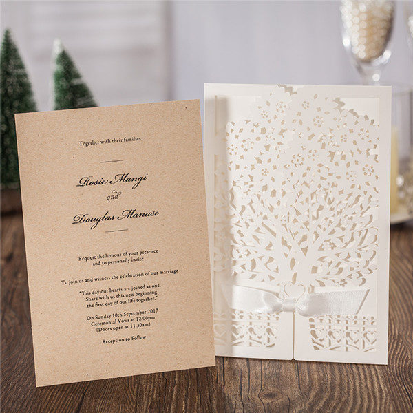 Elegant white tree laser cut wedding invitations with ribbons LC015