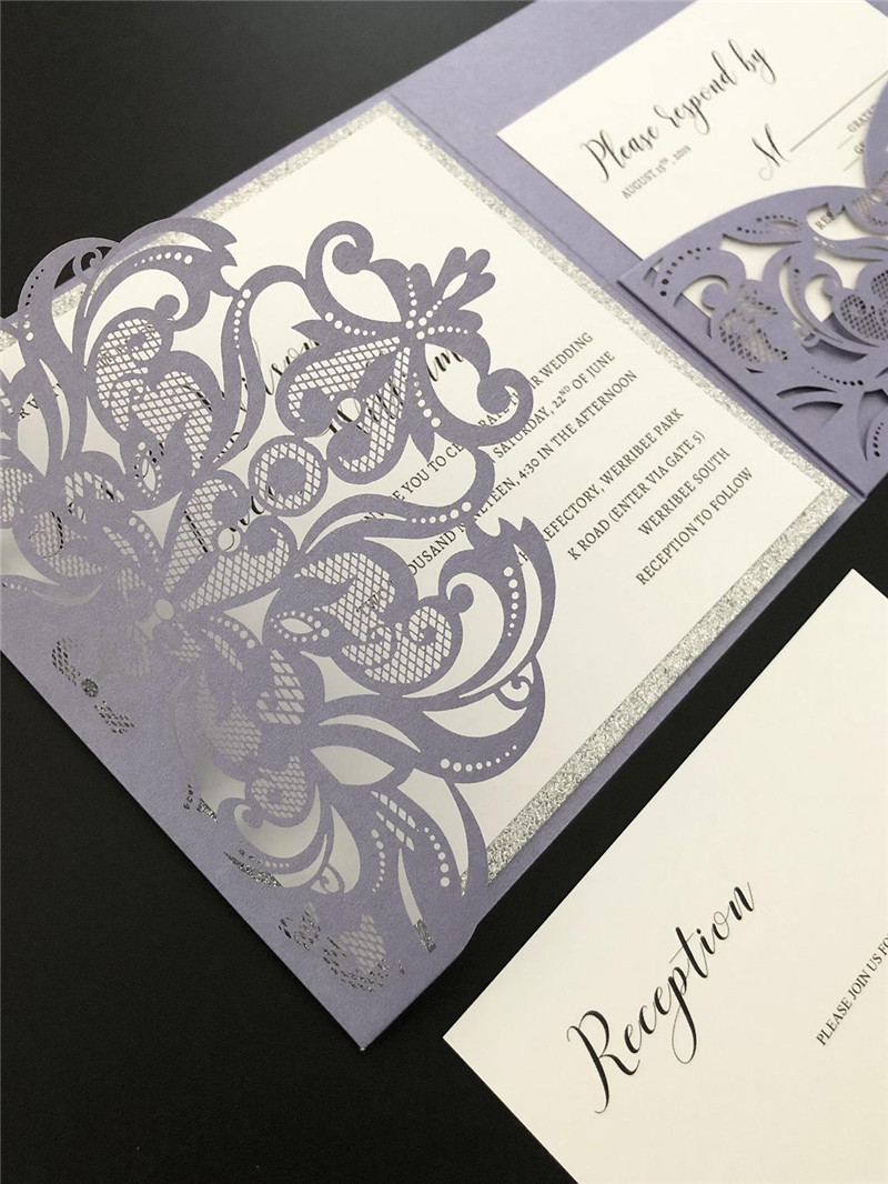 Equisite Purple Fold Laser Cut Wedding Invitation with Silver Glittery Backer and Belly Band Lcz065
