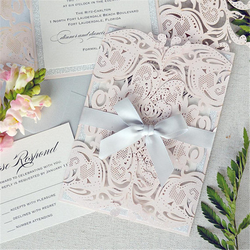 Exquisite Blush Pink Laser Cut Wedding Invitations with Silver Backer and Bow Tie Lcz080