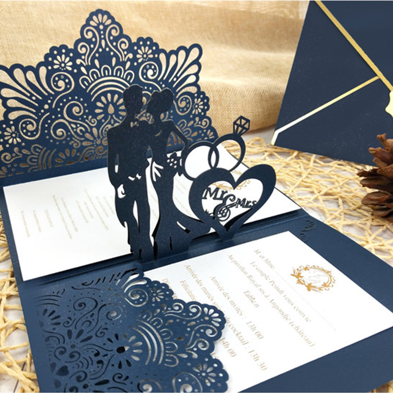 Exquisite Navy Pop up Laser Cut Wedding Invitations with Monogram and Floral Pattern