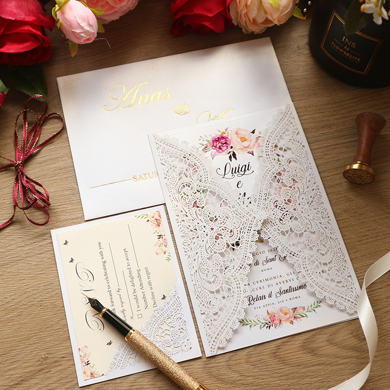 Exquisite and Creative Ivory Laser Cut Wedding Invitations with Lace Designs Lcz044