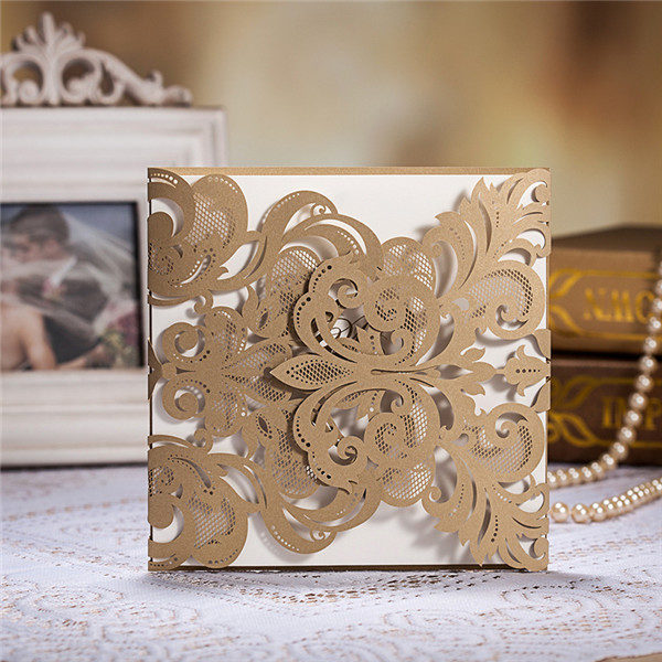 Exquisite and vintage gold laser cut wedding invitations LC006