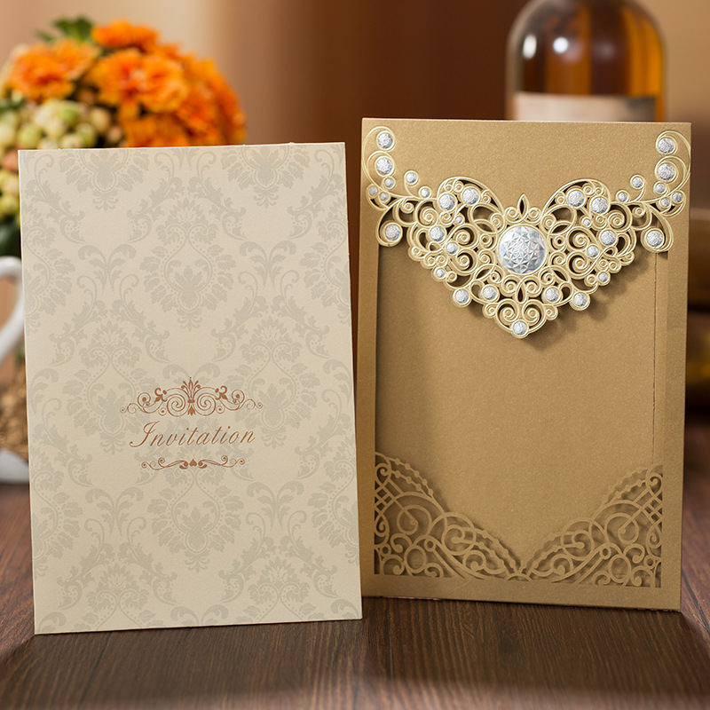 Gold Pocket Laser Cut Wedding Invitations with Amazing Silver Accessories