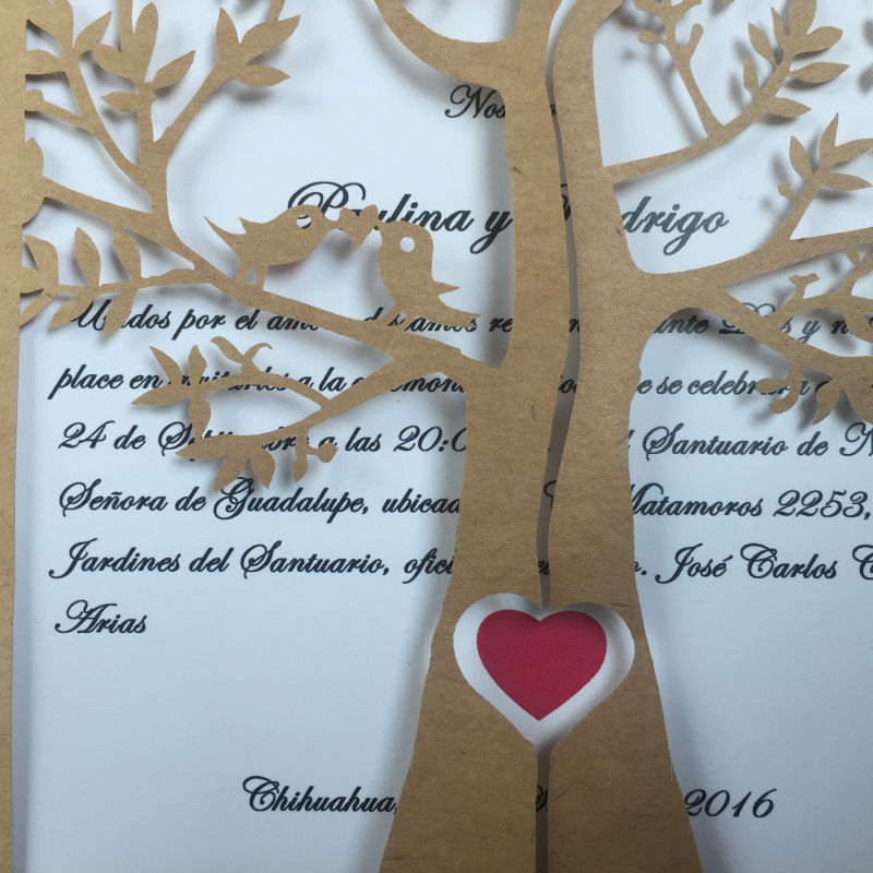 Eye-catching Tree Laser Cut Wedding Invitations with Romantic Heart and Ribbon