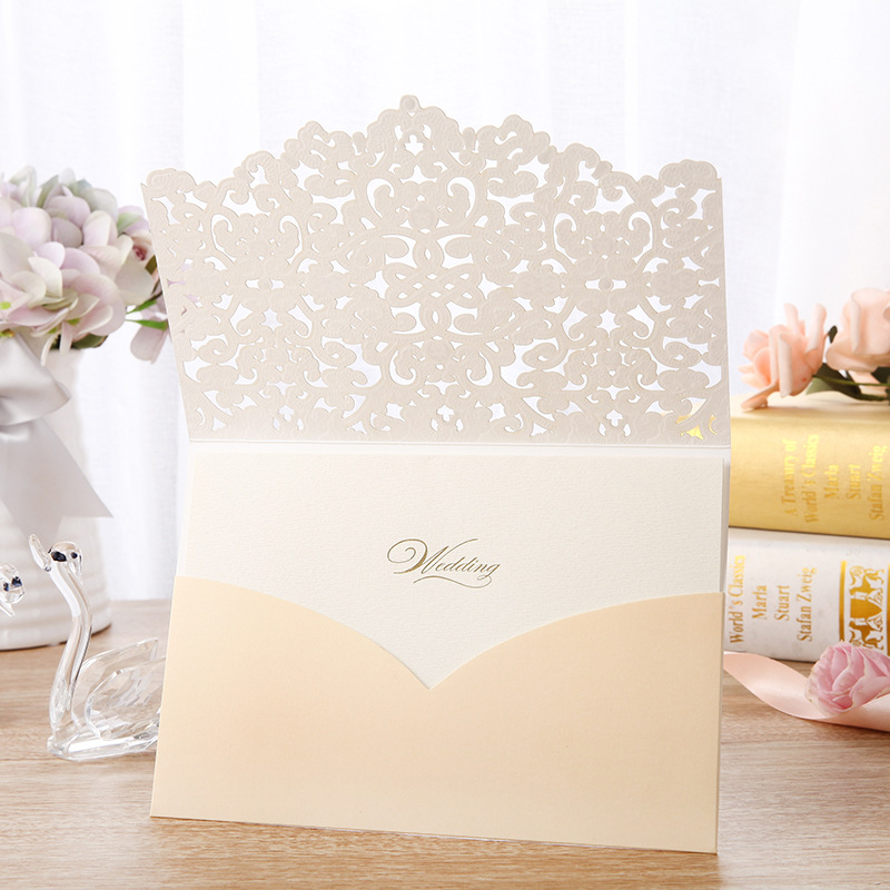 Fantastic Ivory Laser Cut Wedding Invitations with Floral Designs and Amazing Details Lcz099