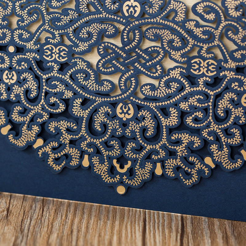 Formal Navy Blue and Gold Laser Cut Wedding Invitations with Amazing Details