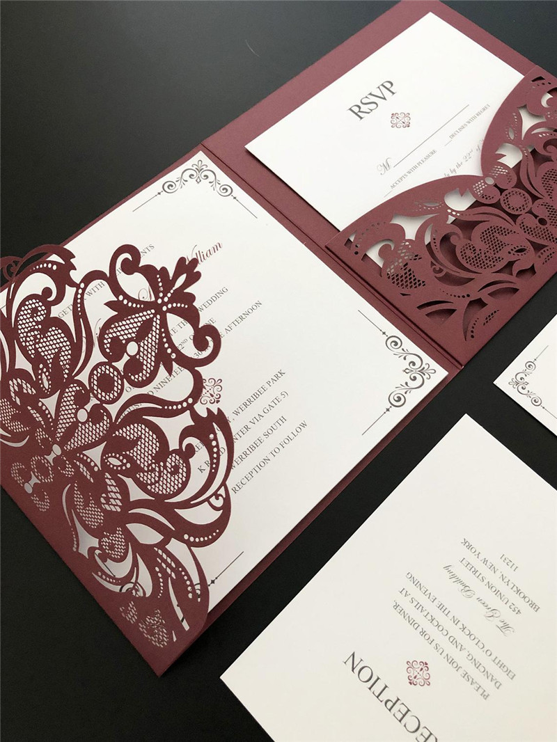 Formal Square Burgundy Laser Cut Wedding Invitations with Simple White Inner Card