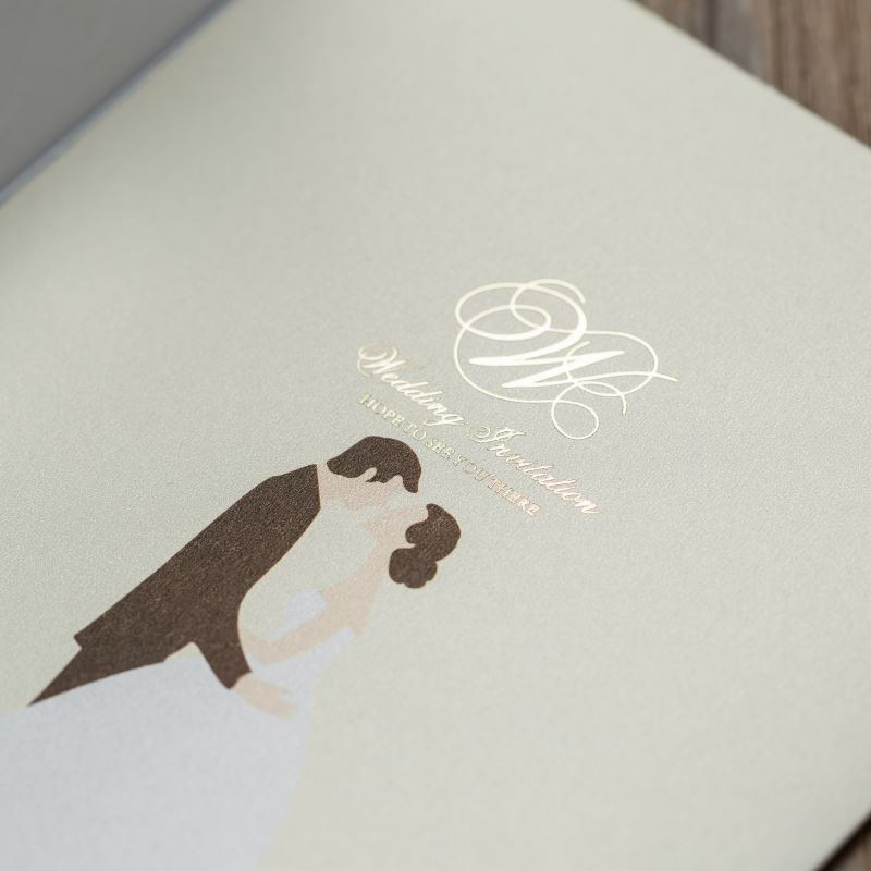Framed Ivory Laser Cut Wedding Invitations with Couples' Photo and Gold Inlay