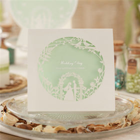 Funny white and mint laser cut wedding invitations with love brids LC023