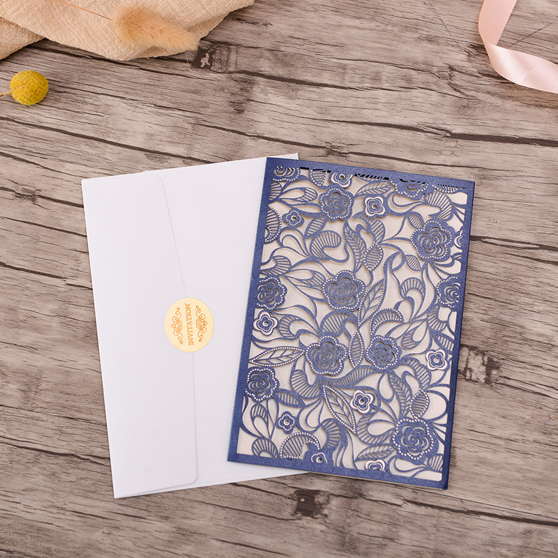 Gorgeous Ivory and Navy Pocket Lace Laser Cut Wedding Invitations with Beads Inlay