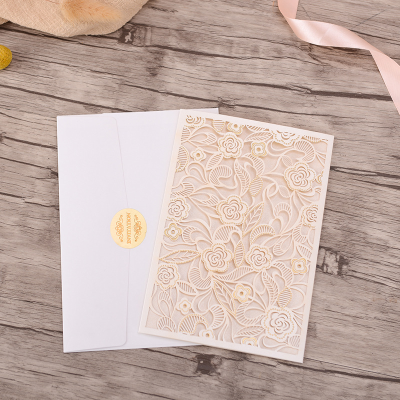Gorgeous White and Gold Pocket Lace Laser Cut Wedding Invitations with Beads Inlay