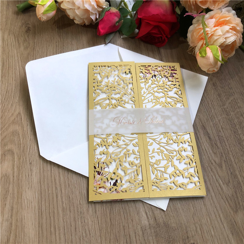 Fold Gold Laser Cut Wedding Invitations with Matching Ribbons or Leaf Design