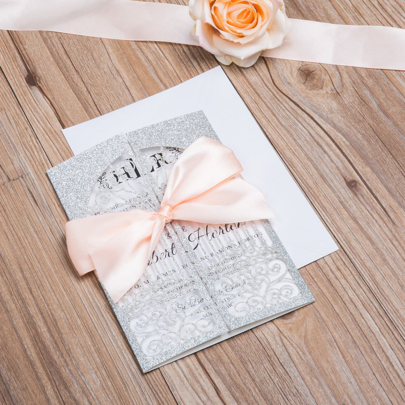 Silver Glittery Laser Cut Wedding Invitations with Ceremonial Gate and Pink Bow Tie Lcz085