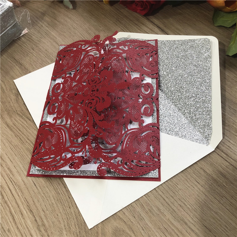 Burgundy Laser Cut Wedding Invitations with Sivler Glitter Backer and floral pattern Lcz051