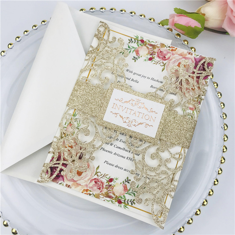 Luxury Champagne Gold Glittery Laser Cut Wedding Invitations with Letter Pressed Wording and Belly Band Lcz074