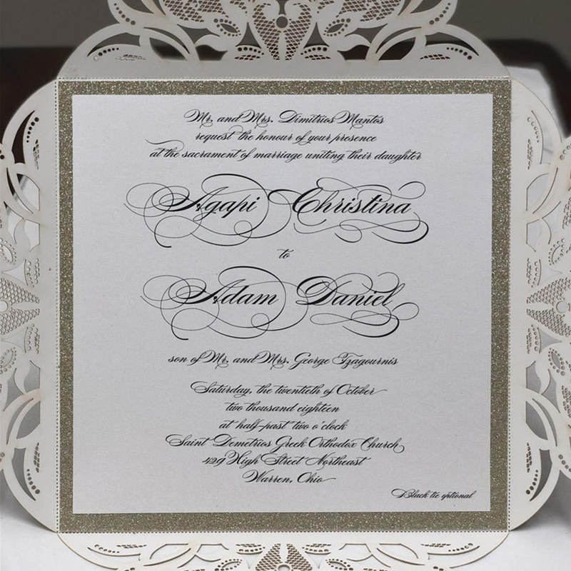 Luxury Square Champagne Glittery Wedding Invitations with Floral Belly Band
