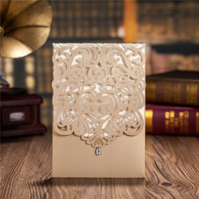 Luxury champagne gold laser cut wedding invitations LC018