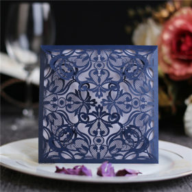 Modern and chic navy blue laser cut wedding invitations LC049