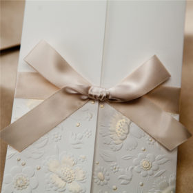 Modern white wedding invitations with engraved flowers and ribbons LC004
