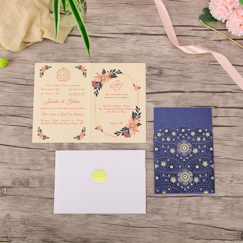 Navy and Gold Flower Detailed Laser Cut Wedding Invitations