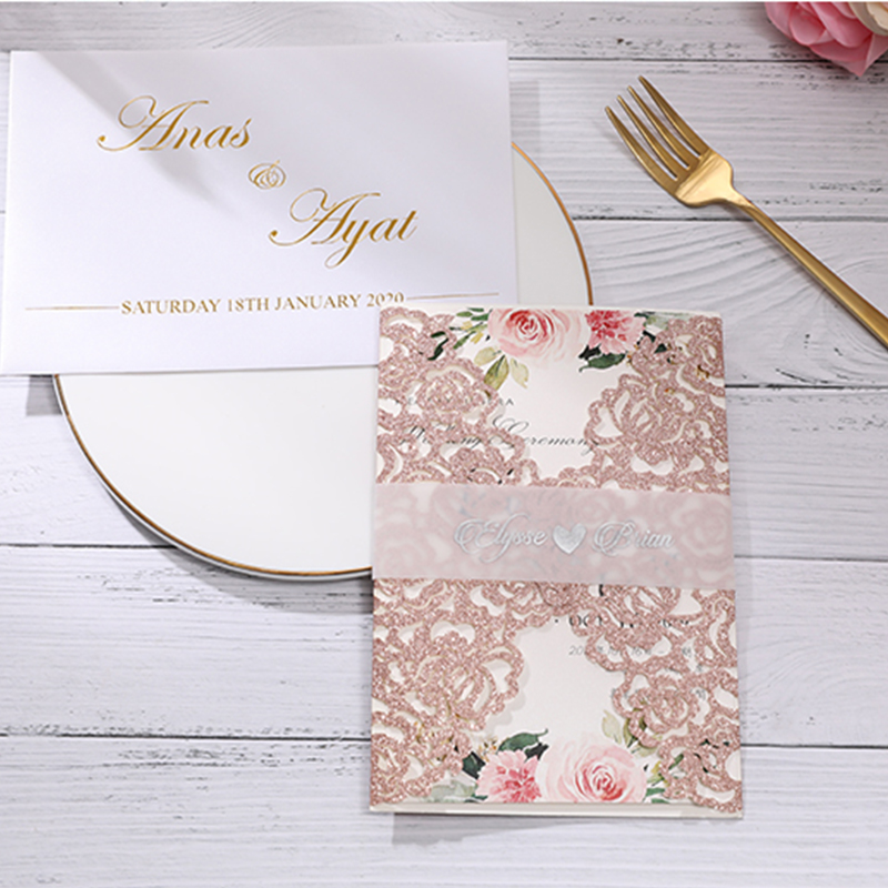Romantic Rose Gold Glittery Laser Cut Wedding Invitations with Vellum Belly Band Lcz081