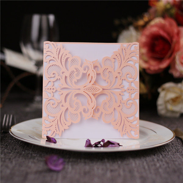 Romantic blush pink folded laser cut wedding invites with white inner cards LC044