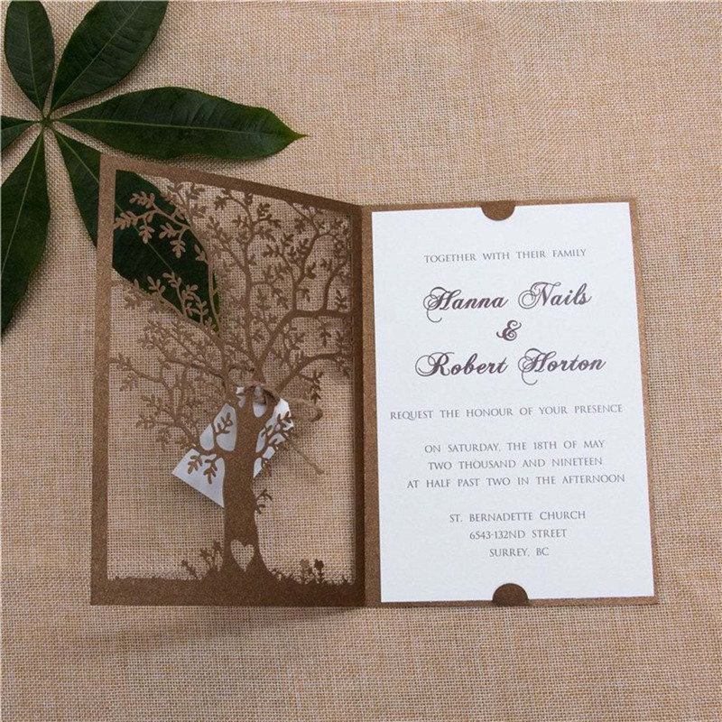 Rustic Shimmer Brown Love Tree Laser Cut Wedding Invitations with Personalized Tag Lcz059