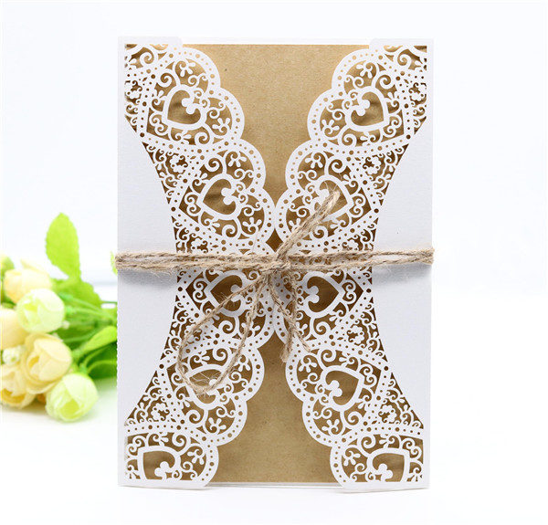 Rustic and country lace laser cut wedding invitations with hemp cord LC055