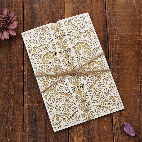 Rustic country laser cut wedding invitations with hemp cord LC041