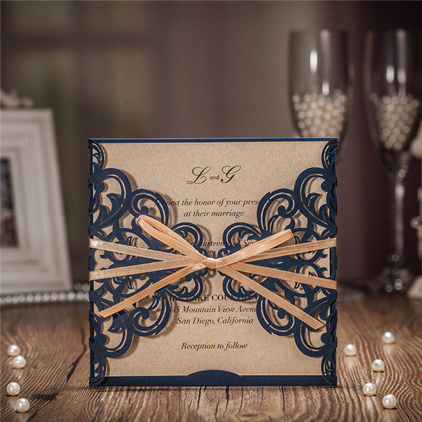 Rustic navy blue laser cut wedding invitations with champagne gold satin ribbons LC017