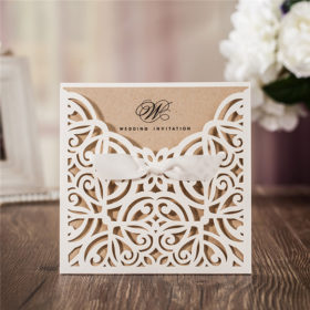 Rustic white laser cut wedding invitations with bow ribbons LC022