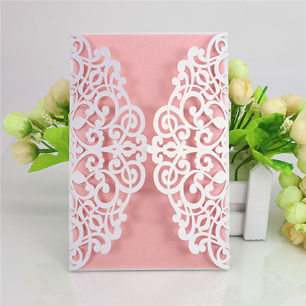 Shabby Chic Customized Laser Cut Wedding Invitations Lc068 Amaze Paperie