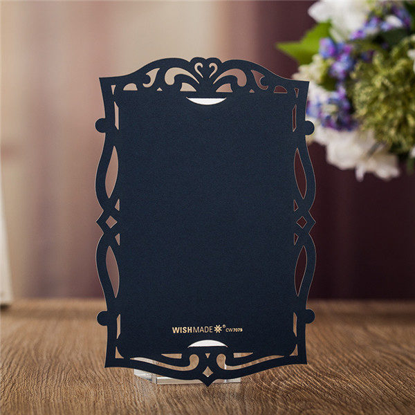 Shabby chic navy blue laser cut wedding invitations with white cards LC033