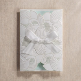 Shiny traditional white folded laser cut wedding invitations LC028