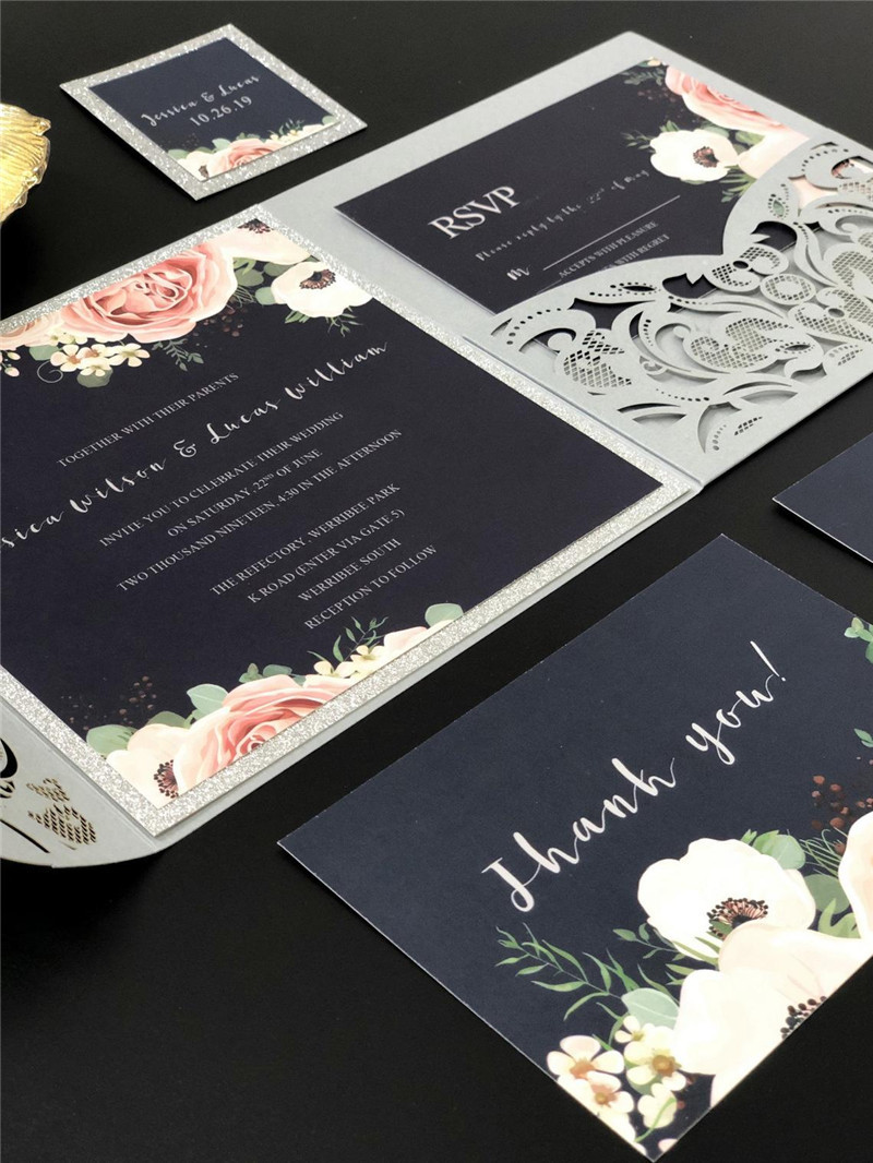 Silver Laser Cut Wedding Invitations with Navy Blue Floral Glittery Back Card and Personalized Belly Band Lcz060
