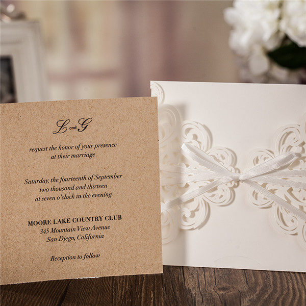 Simple white lace laser cut wedding invitations with satin ribbons LC026