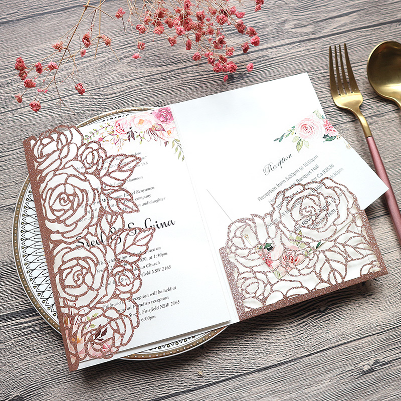 Timeless Rose Gold Glittery Laser Cut Wedding Invitations with Floral Design